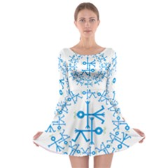 Blue Birds And Olive Branch Circle Icon Long Sleeve Skater Dress
