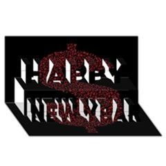 Dollar People Icon Happy New Year 3d Greeting Card (8x4)