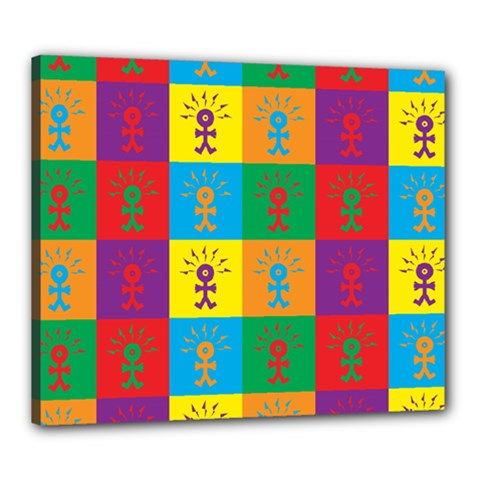 Multi Coloured Lots Of Angry Babies Icon Canvas 24  x 20
