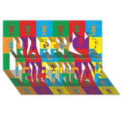 Multi Coloured Lots Of Angry Babies Icon Happy Birthday 3D Greeting Card (8x4)