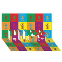 Multi Coloured Lots Of Angry Babies Icon HUGS 3D Greeting Card (8x4)