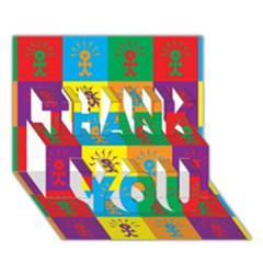 Multi Coloured Lots Of Angry Babies Icon THANK YOU 3D Greeting Card (7x5)