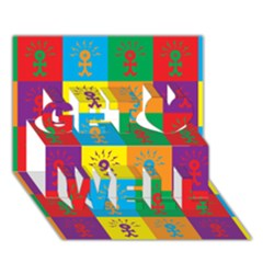 Multi Coloured Lots Of Angry Babies Icon Get Well 3D Greeting Card (7x5)