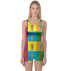 Multi Coloured Lots Of Angry Babies Icon Women s Boyleg One Piece Swimsuits