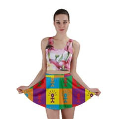 Multi Coloured Lots Of Angry Babies Icon Mini Skirts