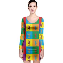 Multi Coloured Lots Of Angry Babies Icon Long Sleeve Bodycon Dresses
