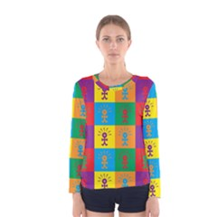 Multi Coloured Lots Of Angry Babies Icon Women s Long Sleeve T-shirts