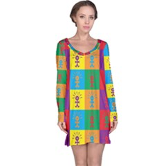 Multi Coloured Lots Of Angry Babies Icon Long Sleeve Nightdresses