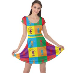 Multi Coloured Lots Of Angry Babies Icon Cap Sleeve Dresses