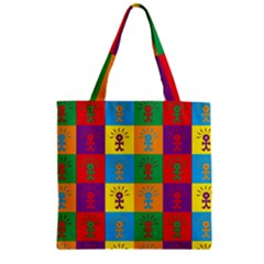 Multi Coloured Lots Of Angry Babies Icon Zipper Grocery Tote Bags