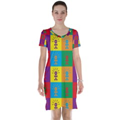 Multi Coloured Lots Of Angry Babies Icon Short Sleeve Nightdresses
