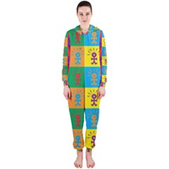 Multi Coloured Lots Of Angry Babies Icon Hooded Jumpsuit (Ladies)