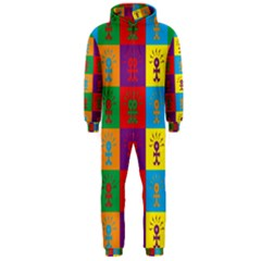 Multi Coloured Lots Of Angry Babies Icon Hooded Jumpsuit (Men)