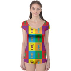 Multi Coloured Lots Of Angry Babies Icon Short Sleeve Leotard