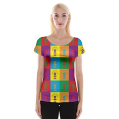 Multi Coloured Lots Of Angry Babies Icon Women s Cap Sleeve Top