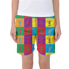 Multi Coloured Lots Of Angry Babies Icon Women s Basketball Shorts