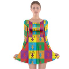 Multi Coloured Lots Of Angry Babies Icon Long Sleeve Skater Dress