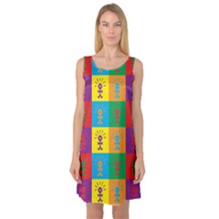 Multi Coloured Lots Of Angry Babies Icon Sleeveless Satin Nightdresses