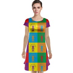 Multi Coloured Lots Of Angry Babies Icon Cap Sleeve Nightdresses