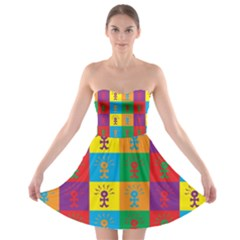 Multi Coloured Lots Of Angry Babies Icon Strapless Bra Top Dress