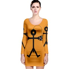 Video Gaming Icon Long Sleeve Bodycon Dresses
