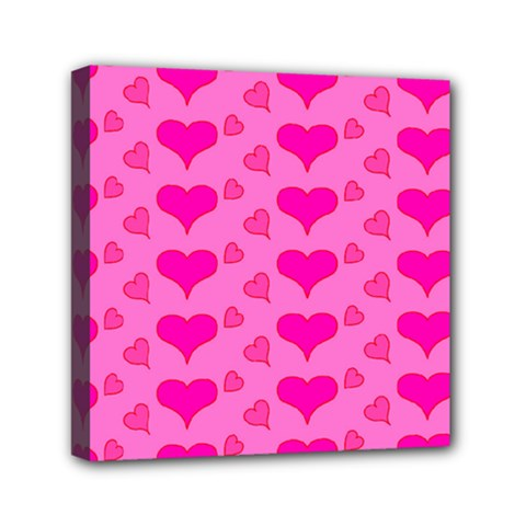 Hearts Pink Mini Canvas 6  x 6