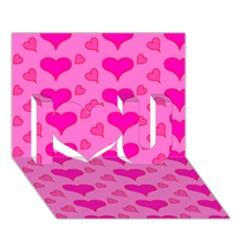 Hearts Pink I Love You 3D Greeting Card (7x5)