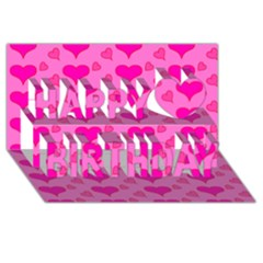 Hearts Pink Happy Birthday 3D Greeting Card (8x4)