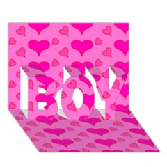 Hearts Pink BOY 3D Greeting Card (7x5)
