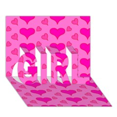 Hearts Pink GIRL 3D Greeting Card (7x5)