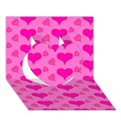 Hearts Pink Heart 3D Greeting Card (7x5)