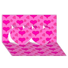 Hearts Pink Twin Hearts 3d Greeting Card (8x4)