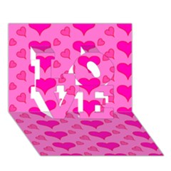 Hearts Pink LOVE 3D Greeting Card (7x5)