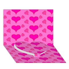 Hearts Pink Heart Bottom 3D Greeting Card (7x5)