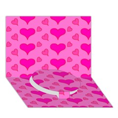 Hearts Pink Circle Bottom 3D Greeting Card (7x5)