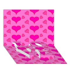 Hearts Pink LOVE Bottom 3D Greeting Card (7x5)