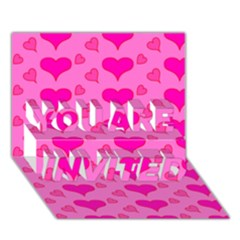 Hearts Pink YOU ARE INVITED 3D Greeting Card (7x5)