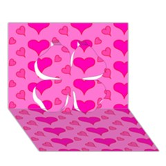 Hearts Pink Clover 3D Greeting Card (7x5)