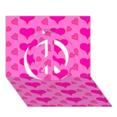 Hearts Pink Peace Sign 3d Greeting Card (7x5)