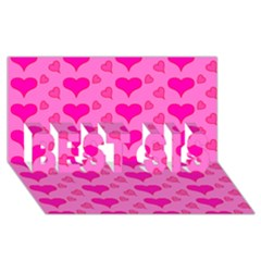 Hearts Pink Best Sis 3d Greeting Card (8x4)