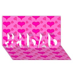 Hearts Pink #1 DAD 3D Greeting Card (8x4)