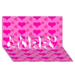 Hearts Pink Sorry 3d Greeting Card (8x4)