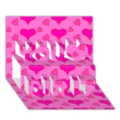 Hearts Pink You Did It 3D Greeting Card (7x5)