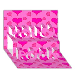 Hearts Pink You Rock 3d Greeting Card (7x5)