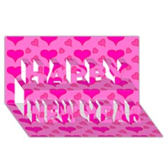 Hearts Pink Happy New Year 3D Greeting Card (8x4)