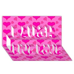 Hearts Pink Laugh Live Love 3D Greeting Card (8x4)