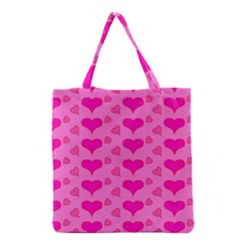 Hearts Pink Grocery Tote Bags