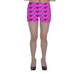 Hearts Pink Skinny Shorts