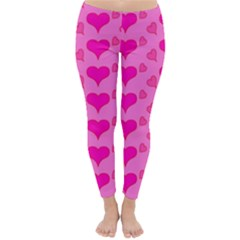 Hearts Pink Winter Leggings