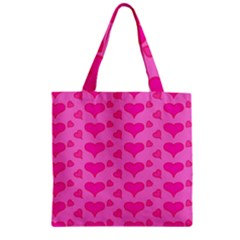Hearts Pink Zipper Grocery Tote Bags